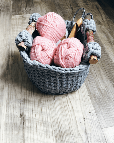 yarn storage solution, basket crochet pattern with handles, crochet storage
