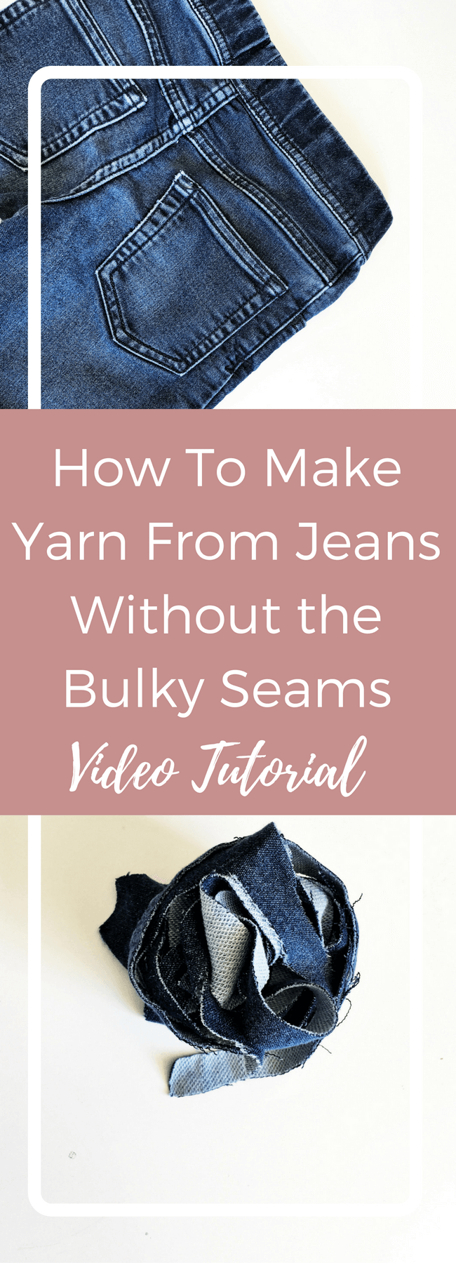 how to turn jeans into yarn video tutorial, make yarn from jeans, denim yarn, repurpose old jeans