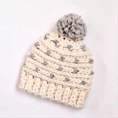 a free crochet beanie pattern for the whole family. Chunky yarn and knit look stitches