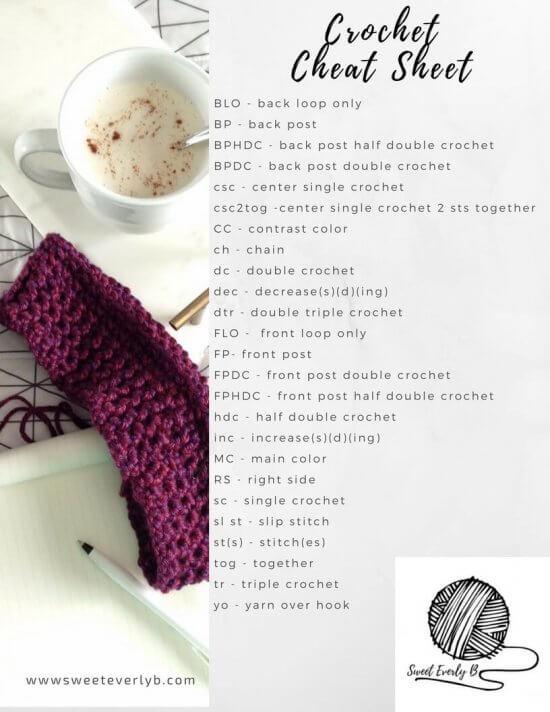 crochet stitch cheat sheet