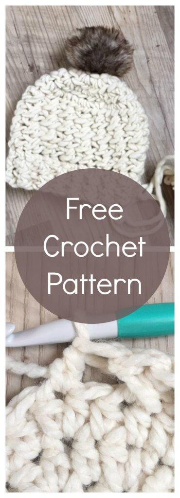 chunky yarn crochet pattern, crochet hat pattern, modern crochet patterns, crochet hats for women, free pattern for crochet