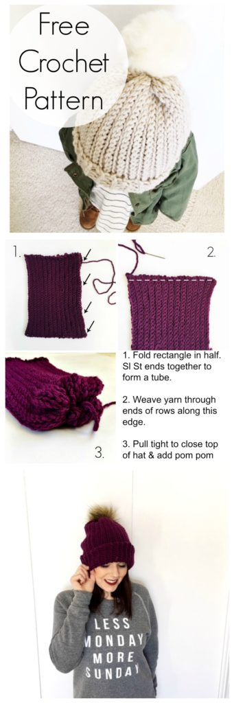 free crochet pattern beanie. Make a ribbed beanie crochet pattern using 1 basic crochet stitch!