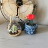 crochet flower pot cover pattern, crochet plant cover, crochet flower pot cozy, denim yarn, jeans yarn