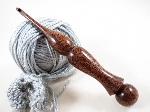 hand turned wood crochet hook, crochet gadgets, gifts for crocheters