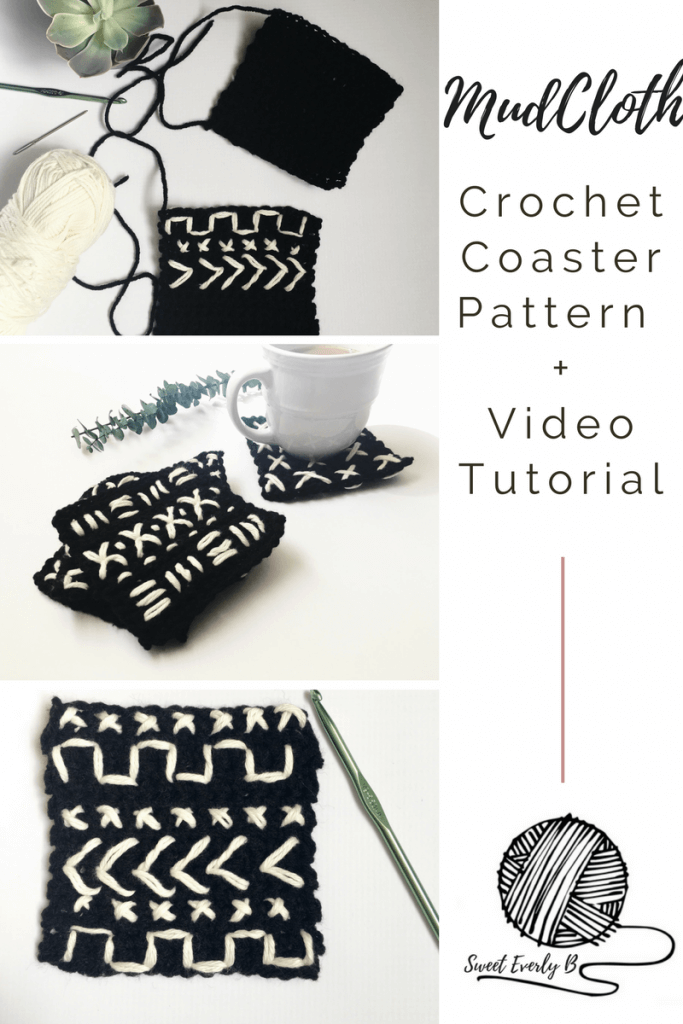 easy crochet coaster for beginners, free crochet coaster pattern, crochet drink coasters, modern crochet coasters, mud cloth coaster pattern