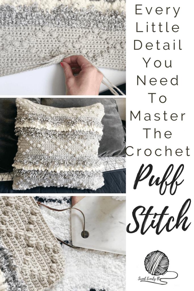 crochet puff stitch video tutorial, how to crochet the puff stitch, diamond bobble pattern