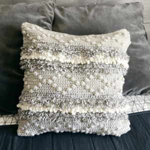 crochet pillow cover, crochet loop stitch, crochet puff stitch