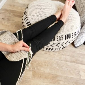 crochet otoman pattern for a modern floor pouf