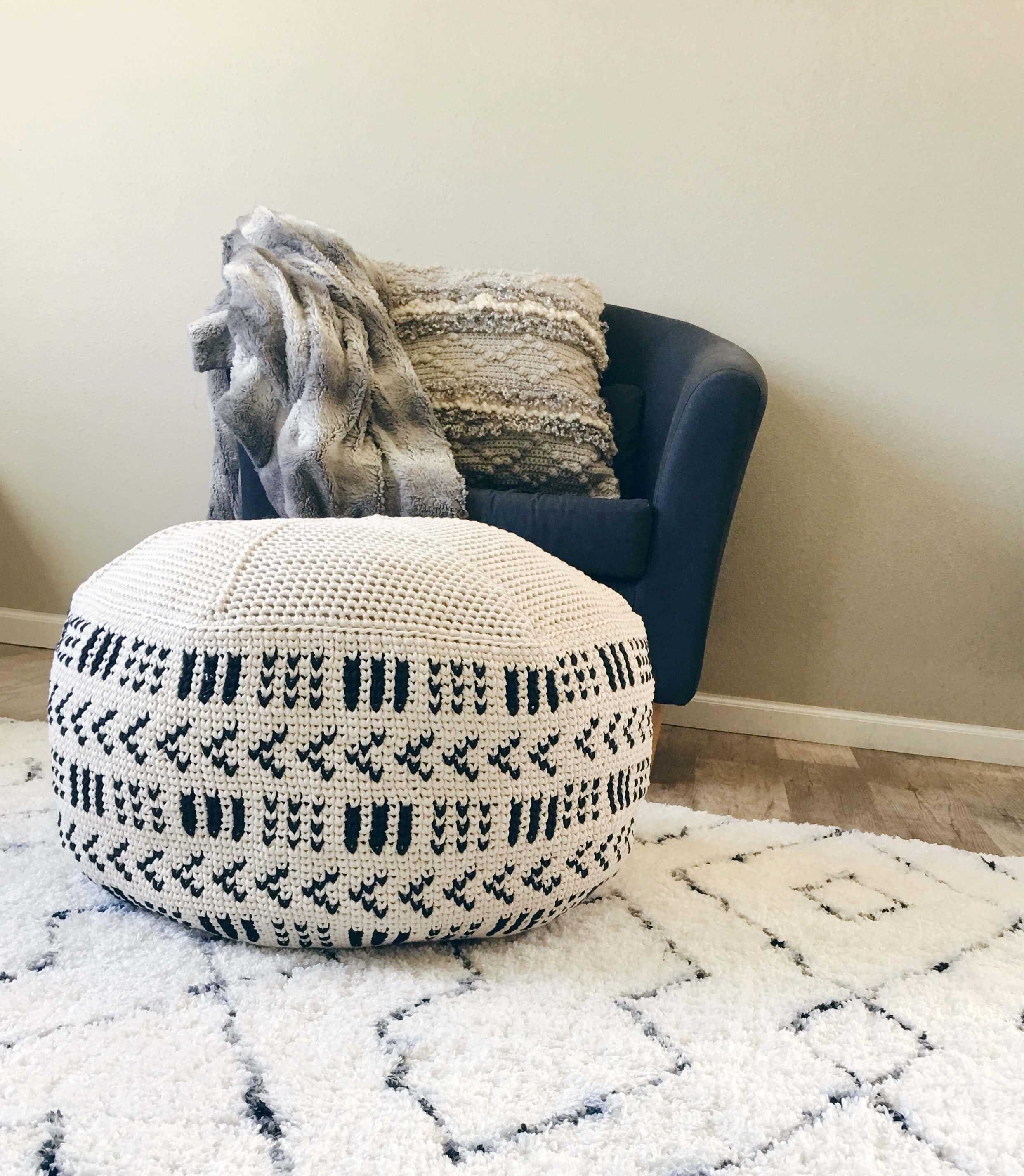 modern crochet pouf pattern