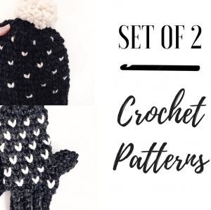 crochet hat and mittens set for the whole family