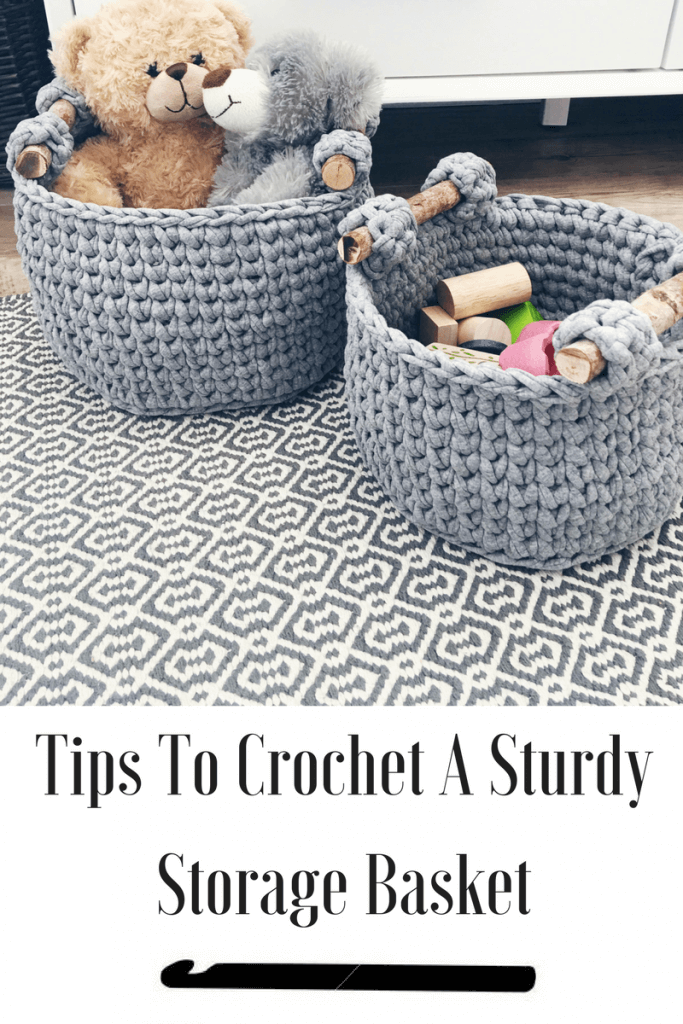 how to crochet a sturdy basket. Tips and tricks to help you pick out the right yarn and hook. Learn how to make a crochet basket with handles