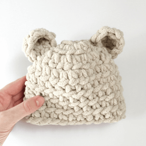 a free baby bear hat crochet pattern that's perfect for beginners. The hat is so plush and soft, you'll want to make one for yourself!