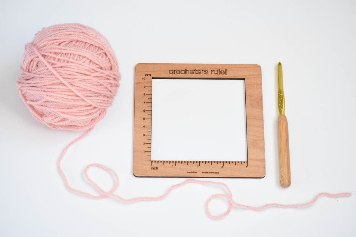 a crochet gauge measuring tool that makes checking gauge fun and simple
