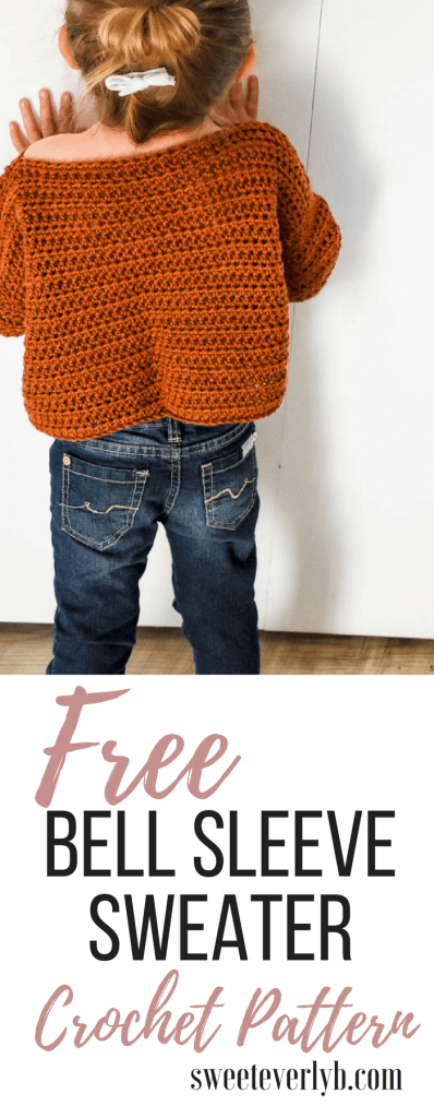 free crochet pattern. I love this easy crochet sweater pattern. All the details you need to know to make your very 1st sweater. The flared sleeves are a fun detail you wouldn't expect in a beginner crochet pattern.