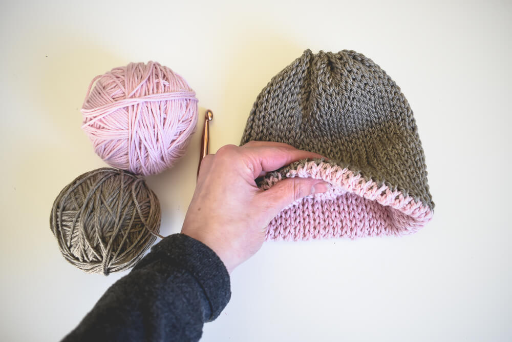 A Free Knit Look Double Brim Crochet Beanie Pattern