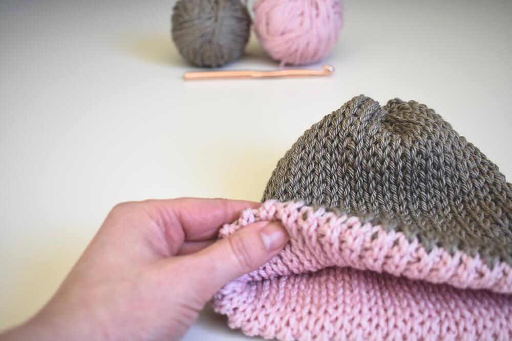 A Free Knit Look Double Brim Crochet Beanie Pattern