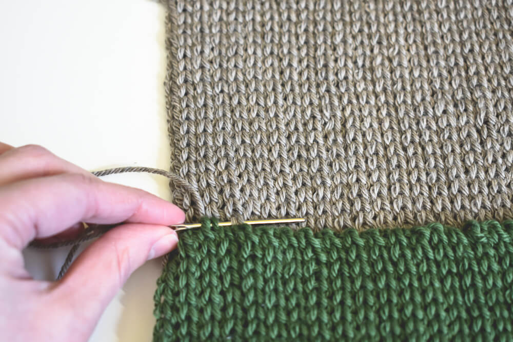 Hand seaming a double brim crochet beanie pattern
