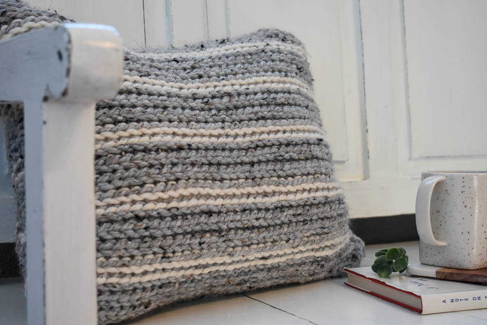A Knit-Look Crochet Pillow Pattern That Adds A Modern Feel To Your Home