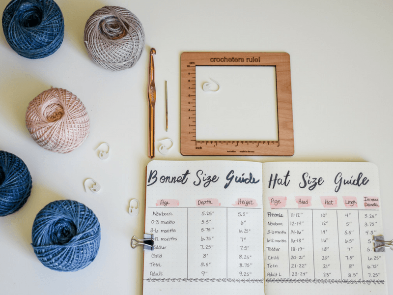 How to make a crochet project planner work for you. Plus a list of crochet size charts you want to include in your planner.