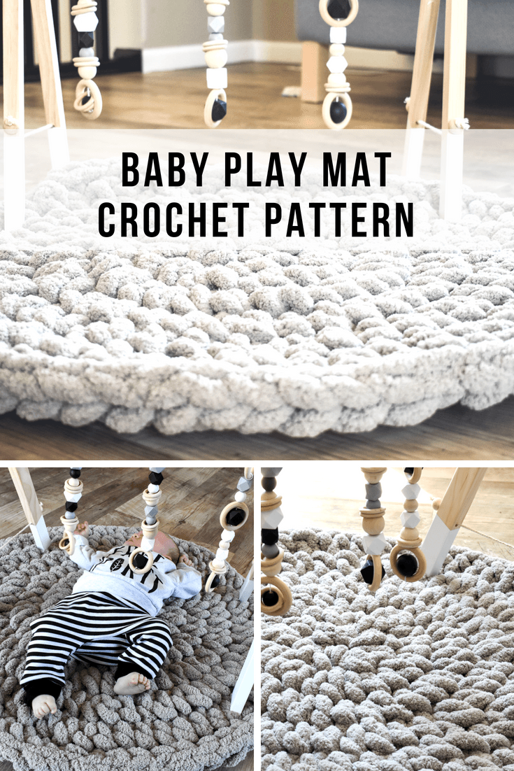 How to crochet a baby play mat that is plush and cozy for tummy time. This crochet mat makes a great baby shower gift you can make in 1 hour.