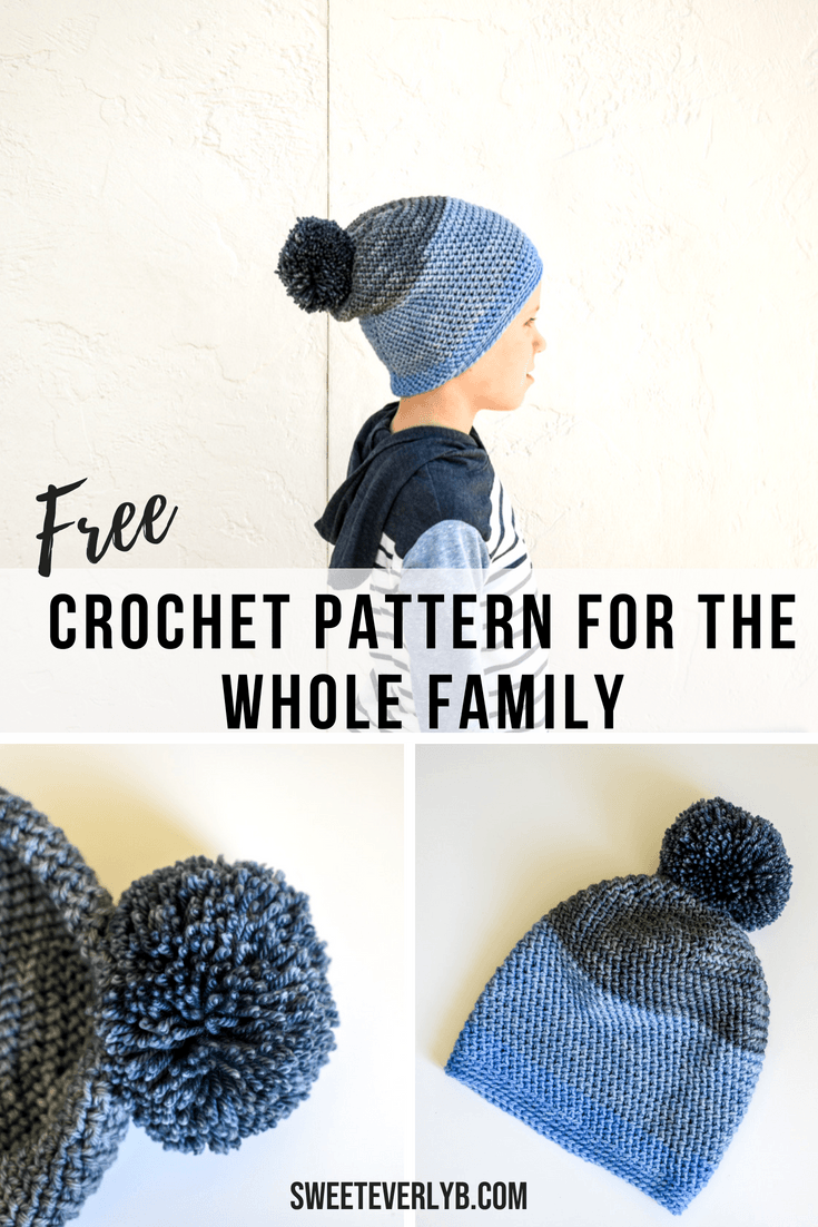 A free crochet slouchy beanie pattern for the whole family. The PDF pattern comes in 7 sizes, from 0-3 months to men's adult. You can all have matching beanies for the fall.