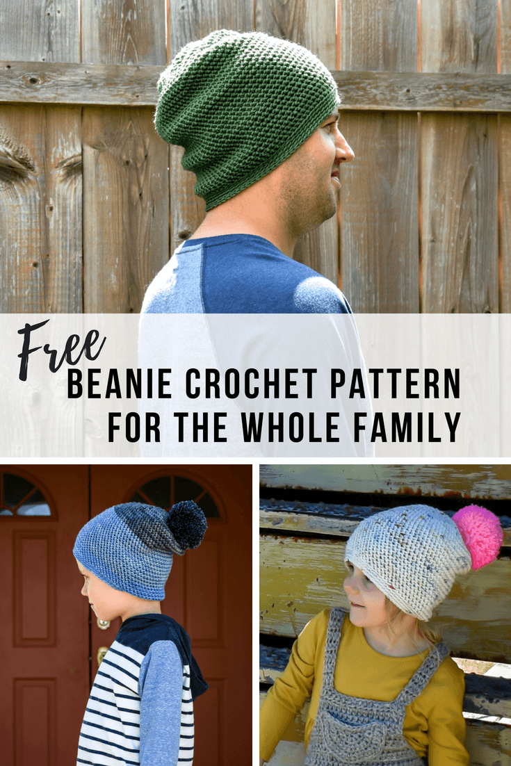 A slouchy beanie crochet pattern that comes in sizes for the whole family. Get the simple free crochet pattern here.
