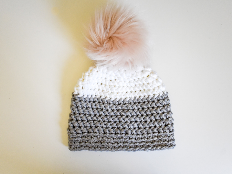 herringbone half double crochet texture chunky crochet hat pattern for kids