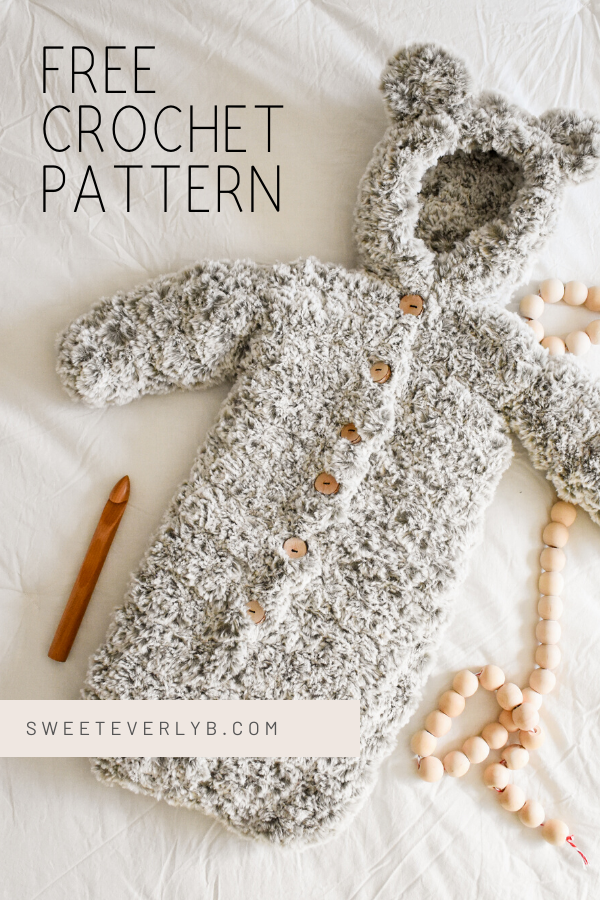 crochet baby bunting patterns with faux fur yarn