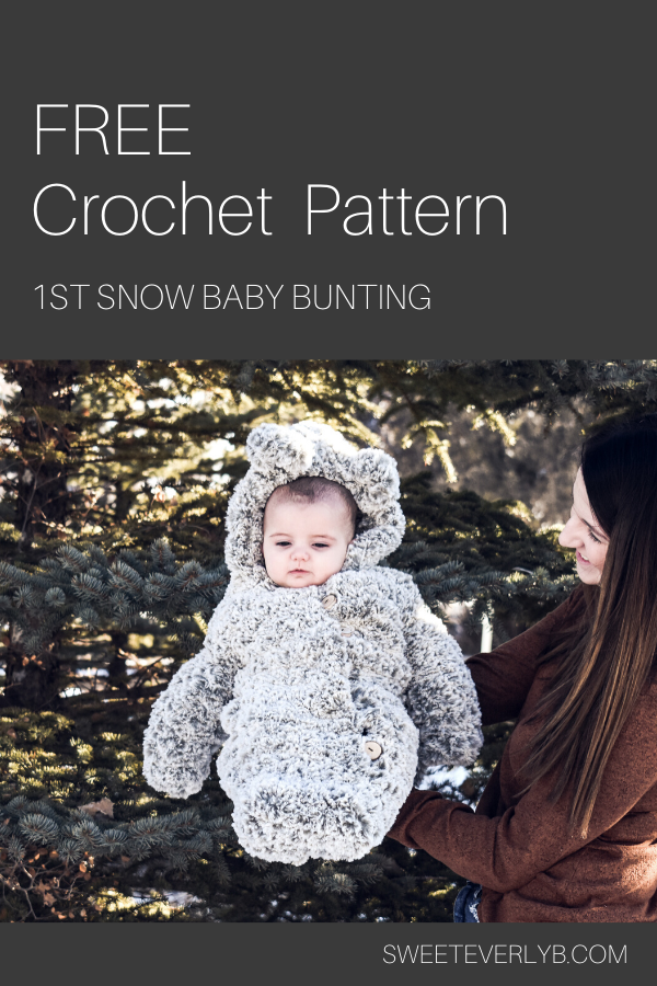 free crochet pattern for a baby bunting snow suit