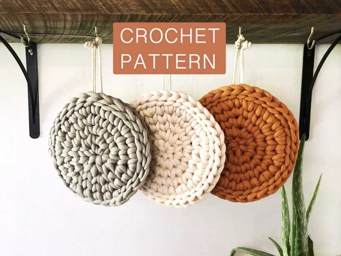 crochet trivet pattern in grey cream and rust colors