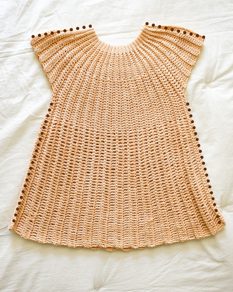Seaming a crochet tunic together