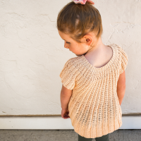 The back of a free summer top crochet pattern for little girls